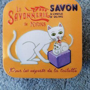 Heerlijke zeep in nostalgisch kattenblikje.