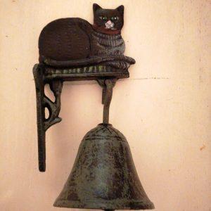 Gietijzeren katten deurbel