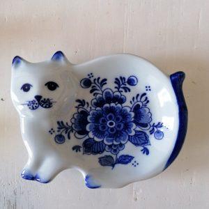 Delfts blauw schoteltje poes