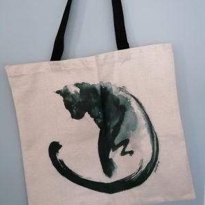 Linnen tas zwarte kat