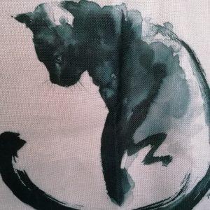 Aquarel zwarte kat.