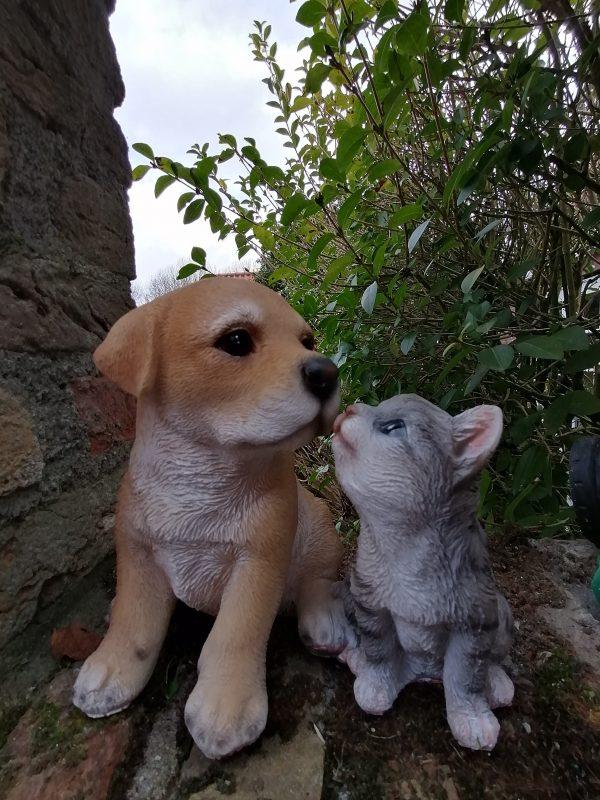 Beeldje kat en hond