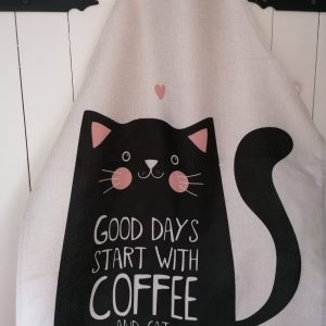 Schort kat en koffie