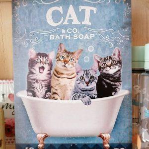 Wandbord katten in bad