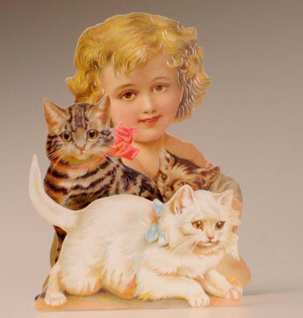Kaart meisje met katten