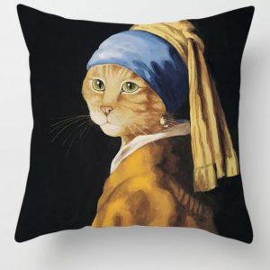 Kussen met kattenafbeelding.