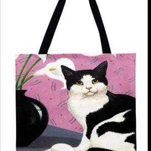 Tas zwart witte kat.