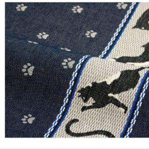 Theedoek kat blauw