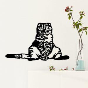 Wanndecoratie zittende kat