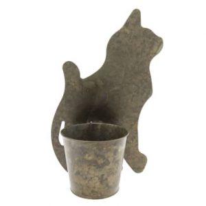 Metalen plantenpot kat.