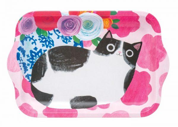 Dienblad met een kattenafbeelding.