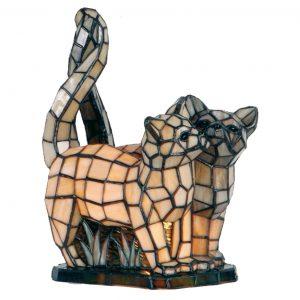 Wat een prachtige kattenlamp in mooie tinten tiffanyglas.